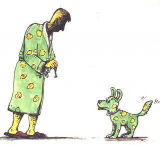 Hund im Pyjama - Kinderbuch-Illustration von Jon Mincu, Fine-Press-Atelier, Berlin - Künstler, Illustrator, Zeichner, Maler für Kunst, Wissenschaft, Belletristik und Kinderbücher