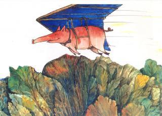 Fliegendes Schwein - Kinderbuch-Illustration von Jon Mincu, Fine-Press-Atelier, Berlin - Künstler, Illustrator, Zeichner, Maler für Kunst, Wissenschaft, Belletristik und Kinderbücher