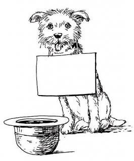 Bettelnder Hund - Illustration von Jon Mincu, Fine-Press-Atelier, Berlin - Künstler, Illustrator, Zeichner, Maler für Kunst, Wissenschaft, Belletristik und Kinderbücher