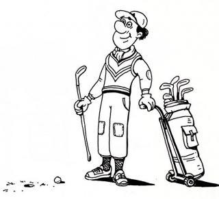 Golfer - Illustration von Jon Mincu, Fine-Press-Atelier, Berlin - Künstler, Illustrator, Zeichner, Maler für Kunst, Wissenschaft, Belletristik und Kinderbücher