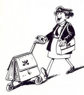 Postfrau - Illustration von Jon Mincu, Fine-Press-Atelier, Berlin - Künstler, Illustrator, Zeichner, Maler für Kunst, Wissenschaft, Belletristik und Kinderbücher