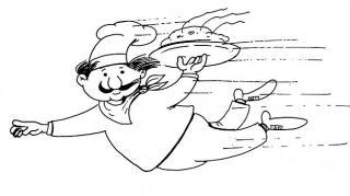 Fliegender Koch - Illustration von Jon Mincu, Fine-Press-Atelier, Berlin - Künstler, Illustrator, Zeichner, Maler für Kunst, Wissenschaft, Belletristik und Kinderbücher