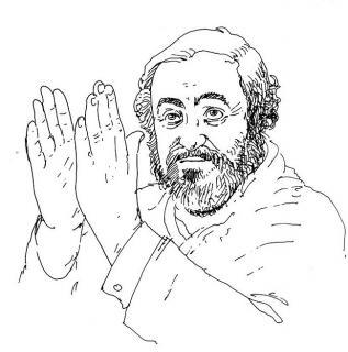 Pavarotti - Illustration von Jon Mincu, Fine-Press-Atelier, Berlin - Künstler, Illustrator, Zeichner, Maler für Kunst, Wissenschaft, Belletristik und Kinderbücher