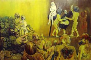 Die letzten Antinudisten, Öl/Lw., 100x150 cm