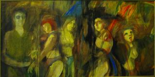 Party/Love Parade, Öl/Lw., 200x150 cm
