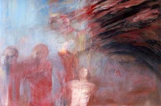 Kain und Abel, Öl/Lw., 100x150 cm