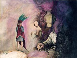 Die Versuchungen des Hl. Hieronymus, Gouache
