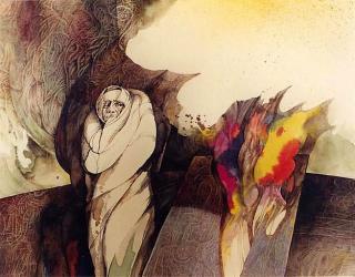 Aquarell Phönixasche von Jon Mincu, Maler, Grafiker, Illustrator aus Berlin