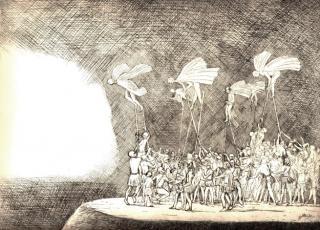 Flug-Ritual von Jon Mincu, Maler, Grafiker, Illustrator aus Berlin