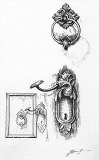 Türschloss - Illustration von Jon Mincu, Fine-Press-Atelier, Berlin - Künstler, Illustrator, Zeichner, Maler für Kunst, Wissenschaft, Belletristik und Kinderbücher