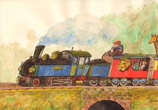 Eisenbahn - Kinderbuch-Illustration von Jon Mincu, Fine-Press-Atelier, Berlin - Künstler, Illustrator, Zeichner, Maler für Kunst, Wissenschaft, Belletristik und Kinderbücher