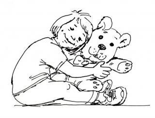 Kind mit Bär - Kinderbuch-Illustration von Jon Mincu, Fine-Press-Atelier, Berlin - Künstler, Illustrator, Zeichner, Maler für Kunst, Wissenschaft, Belletristik und Kinderbücher