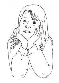 Träumendes Mädchen - Kinderbuch-Illustration von Jon Mincu, Fine-Press-Atelier, Berlin - Künstler, Illustrator, Zeichner, Maler für Kunst, Wissenschaft, Belletristik und Kinderbücher