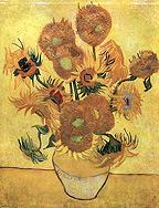 """Die berühmten """"Sonnenblumen"""",1888 von Van Gogh, links (aus: van Gogh, Bastei Galerie der Grossen Maler, 5, Bastei Verlag/Gustav H. Lübbe, Bergisch Gladbach 1966, IX)"""